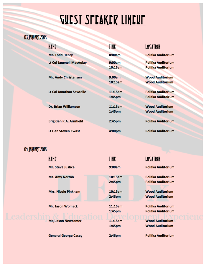 LEDx Speaker Lineup Schedule