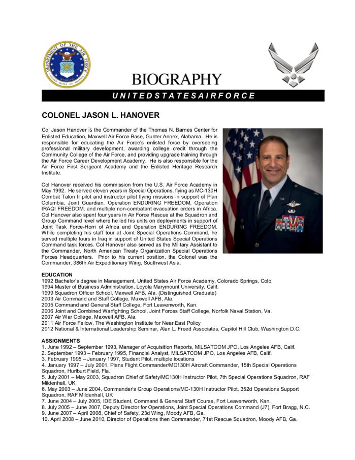 Bio Col Jason Hanover (June 2016)1